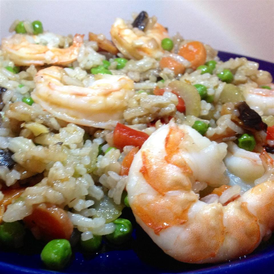 Γαρίδες τζίντζερ με τηγανητό ρύζι